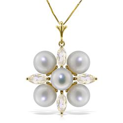 Genuine 6.3 ctw White Topaz & Pearl Necklace Jewelry 14KT Yellow Gold - REF-59W2Y