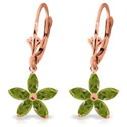 Genuine 2.8 ctw Peridot Earrings Jewelry 14KT Rose Gold - REF-46Y7F