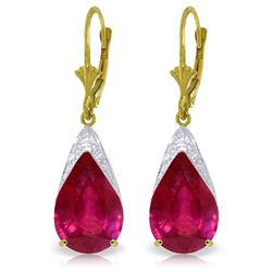 Genuine 10 ctw Ruby Earrings Jewelry 14KT Yellow Gold - REF-90X9M