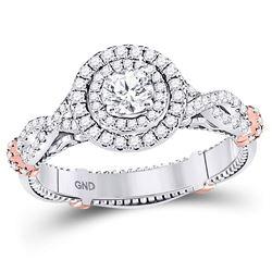 0.79 CTW Diamond Ring 14KT 2Tone Gold - REF-194X2W