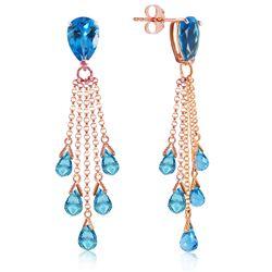 Genuine 15.5 ctw Blue Topaz Earrings Jewelry 14KT Rose Gold - REF-51K8V