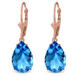 Genuine 13 ctw Blue Topaz Earrings Jewelry 14KT Rose Gold - REF-48K4V