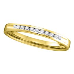 0.10 CTW Diamond Single Row Wedding Ring 14KT Yellow Gold - REF-19F4N