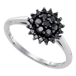 0.45 CTW Black Color Diamond Cluster Ring 10KT White Gold - REF-22F4N