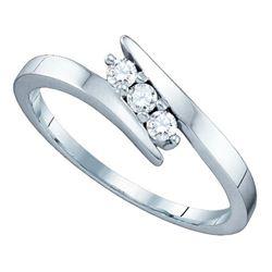 0.15 CTW 3-Stone Diamond Bridal Wedding Engagement Ring 14k White Gold - REF-30W2K