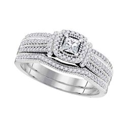 0.50 CTW Princess Diamond Bridal Engagement Ring 10KT White Gold - REF-57X2Y