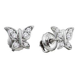 0.10 CTW Diamond Butterfly Bug Screwback Stud Earrings 14KT White Gold - REF-18X2Y
