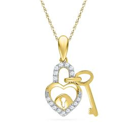 0.10 CTW Diamond Heart Lock Key Dangle Pendant 10KT Yellow Gold - REF-8F9N
