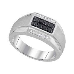0.42 CTW Mens Black Color Diamond Rectangle Cluster Ring 10KT White Gold - REF-37F5N