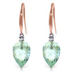 Genuine 22.6 ctw Blue Topaz & Diamond Earrings Jewelry 14KT Rose Gold - REF-57K6V
