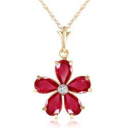 Genuine 2.22 ctw Ruby & Diamond Necklace Jewelry 14KT Yellow Gold - REF-36Z3N