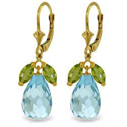 Genuine 14.4 ctw Blue Topaz & Peridot Earrings Jewelry 14KT Yellow Gold - REF-46R7P
