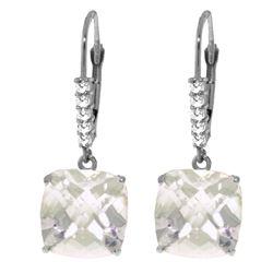 Genuine 7.35 ctw White Topaz & Diamond Earrings Jewelry 14KT White Gold - REF-57Z3N