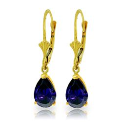 Genuine 3 ctw Sapphire Earrings Jewelry 14KT Yellow Gold - REF-36M9T