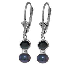 Genuine 5.2 ctw Sapphire & Black Pearl Earrings Jewelry 14KT White Gold - REF-27Y4F
