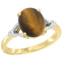 Natural 2.31 ctw Tiger-eye & Diamond Engagement Ring 14K Yellow Gold - REF-31G6M