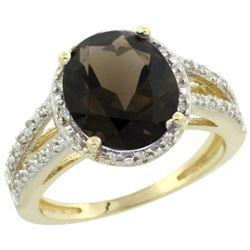 Natural 3.47 ctw Smoky-topaz & Diamond Engagement Ring 14K Yellow Gold - REF-46G3M