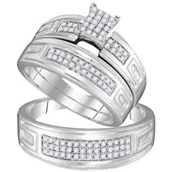 0.50 CTW His & Hers Diamond Cluster Matching Bridal Ring 10KT White Gold - REF-49H5M