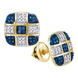 0.25 CTW Blue Color Diamond Checkered Stud Earrings 10KT Yellow Gold - REF-24H2M
