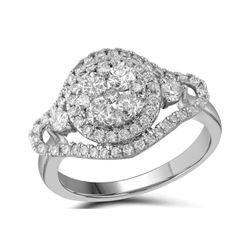 1.19 CTW Diamond Cluster Halo Bridal Engagement Ring 10KT White Gold - REF-139F5N