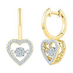 0.27 CTW Diamond Heart Moving Twinkle Dangle Earrings 10KT Yellow Gold - REF-41F9N