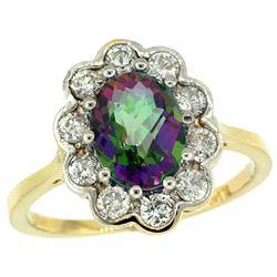 Natural 2.34 ctw Mystic-topaz & Diamond Engagement Ring 10K Yellow Gold - REF-69V8F