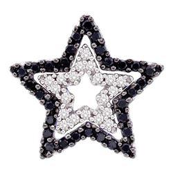 0.33 CTW Black Color Diamond Star Cutout Pendant 10KT White Gold - REF-24N2F
