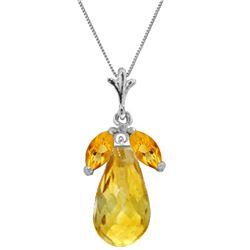 Genuine 7.2 ctw Citrine Necklace Jewelry 14KT White Gold - REF-30A5K