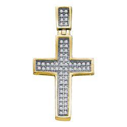 0.16 CTW Diamond Cross Faith Pendant 10KT Yellow Gold - REF-14X9Y