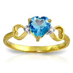 Genuine 0.96 ctw Blue Topaz & Diamond Ring Jewelry 14KT Yellow Gold - REF-41R4P