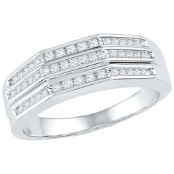0.25 CTW Diamond Flat Side Arched Ring 10KT White Gold - REF-36H7M