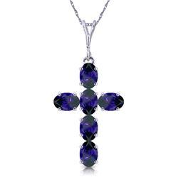 Genuine 1.50 ctw Sapphire Necklace Jewelry 14KT White Gold - REF-36Y5F