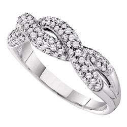 0.50 CTW Diamond Woven Crossover Ring 14KT White Gold - REF-64F4N