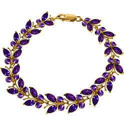 Genuine 16.5 ctw Amethyst Bracelet Jewelry 14KT Rose Gold - REF-179V2W