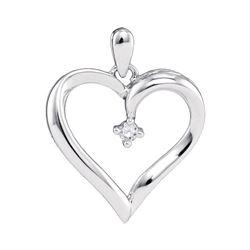 0.04 CTW Diamond Heart Love Pendant 10KT White Gold - REF-9Y7X