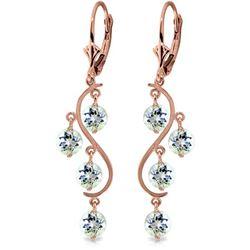 Genuine 4.5 ctw Aquamarine Earrings Jewelry 14KT Rose Gold - REF-66N2R