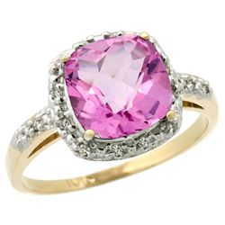 Natural 3.92 ctw Pink-topaz & Diamond Engagement Ring 10K Yellow Gold - REF-26K7R