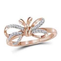 0.13 CTW Diamond Ribbon Bow Knot Ring 10KT Rose Gold - REF-18K7W