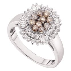 0.75 CTW Cognac-brown Color Diamond Oval Cluster Ring 14KT White Gold - REF-75X2Y