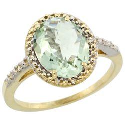 Natural 2.42 ctw Green-amethyst & Diamond Engagement Ring 10K Yellow Gold - REF-25F5N