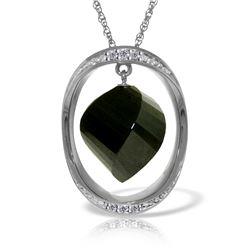 Genuine 15.6 ctw Black Spinel & Diamond Necklace Jewelry 14KT White Gold - REF-107H8X