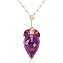 Genuine 10 ctw Amethyst Necklace Jewelry 14KT Yellow Gold - REF-28T9A
