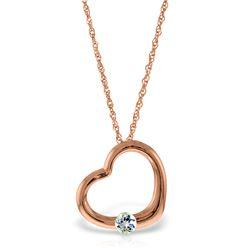 Genuine 0.25 ctw Aquamarine Necklace Jewelry 14KT Rose Gold - REF-29R3P