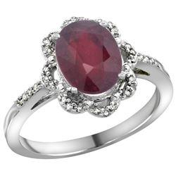 Natural 2.24 ctw Ruby & Diamond Engagement Ring 14K White Gold - REF-61W9K