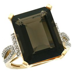 Natural 12.14 ctw Smoky-topaz & Diamond Engagement Ring 14K Yellow Gold - REF-66N2G