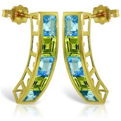 Genuine 4.5 ctw Blue Topaz & Peridot Earrings Jewelry 14KT Yellow Gold - REF-38Y5F