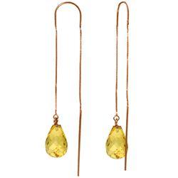Genuine 4.5 ctw Citrine Earrings Jewelry 14KT Rose Gold - REF-20A4K