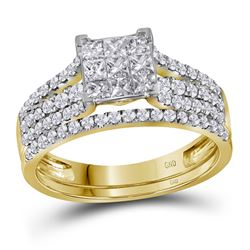 1.04 CTW Princess Diamond Cluster Bridal Engagement Ring 14KT Yellow Gold - REF-82H4M