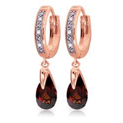 Genuine 2.53 ctw Garnet & Diamond Earrings Jewelry 14KT Rose Gold - REF-60K4V