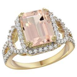 Natural 3.58 ctw morganite & Diamond Engagement Ring 14K Yellow Gold - REF-130A2V
